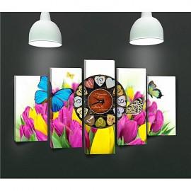 Tableau avec horloge - 5 pièces Fleur