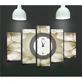 Tableau avec horloge - 5 pièces Beige