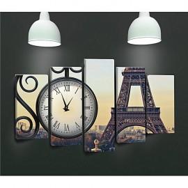 Tableaux avec horloge - 5 pièces Tour effel
