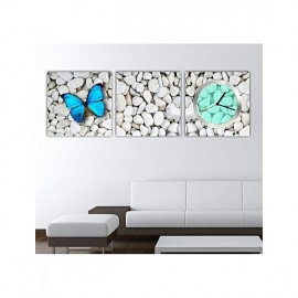 Tableau avec horloge - 3 pièces 30x30 cm