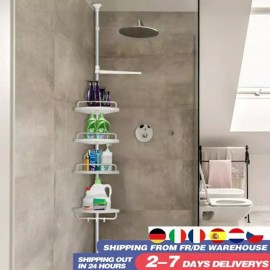 Adjustable Telescopic Bathroom Kitchen Shelf Wall Corner Shower