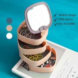 Jewelry Storage Box With Rotating Mirror Jewelry Stud Earrings Ring Jewelry Box