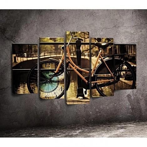Tableau vélo avec horloge - 5 pièces