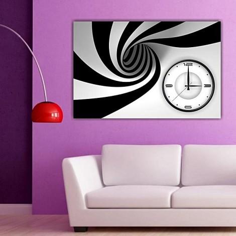 Tableau avec horloge 60x40 cm - black & white